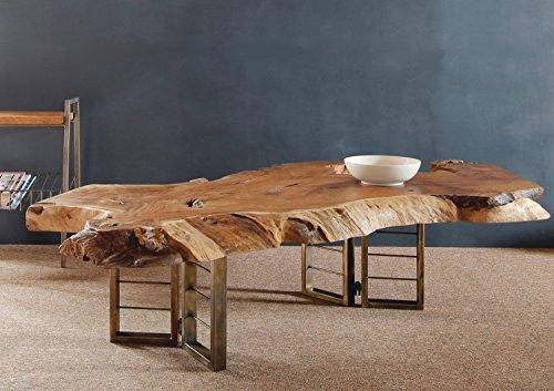 Design Couchtisch Teak Baumscheibe Holzstamm Wohnzimmer Holztisch