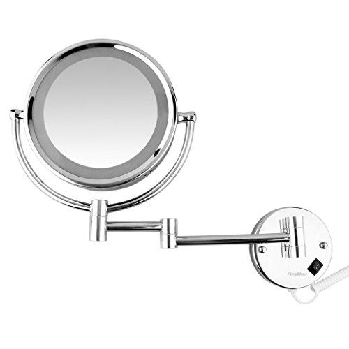 finether beleuchteter kosmetikspiegel mit led licht 360 drehbar 7 fach vergr erung biatoo. Black Bedroom Furniture Sets. Home Design Ideas