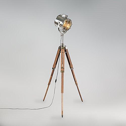 qazqa design industrie industrial modern stehlampe dreifuss gl nzend holz mit chrom. Black Bedroom Furniture Sets. Home Design Ideas
