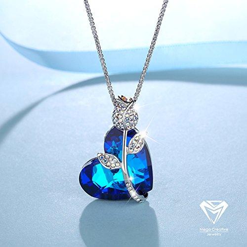 mega creative jewelry damen kette roseherz halskette mit kristallen von swarovski hell blau. Black Bedroom Furniture Sets. Home Design Ideas